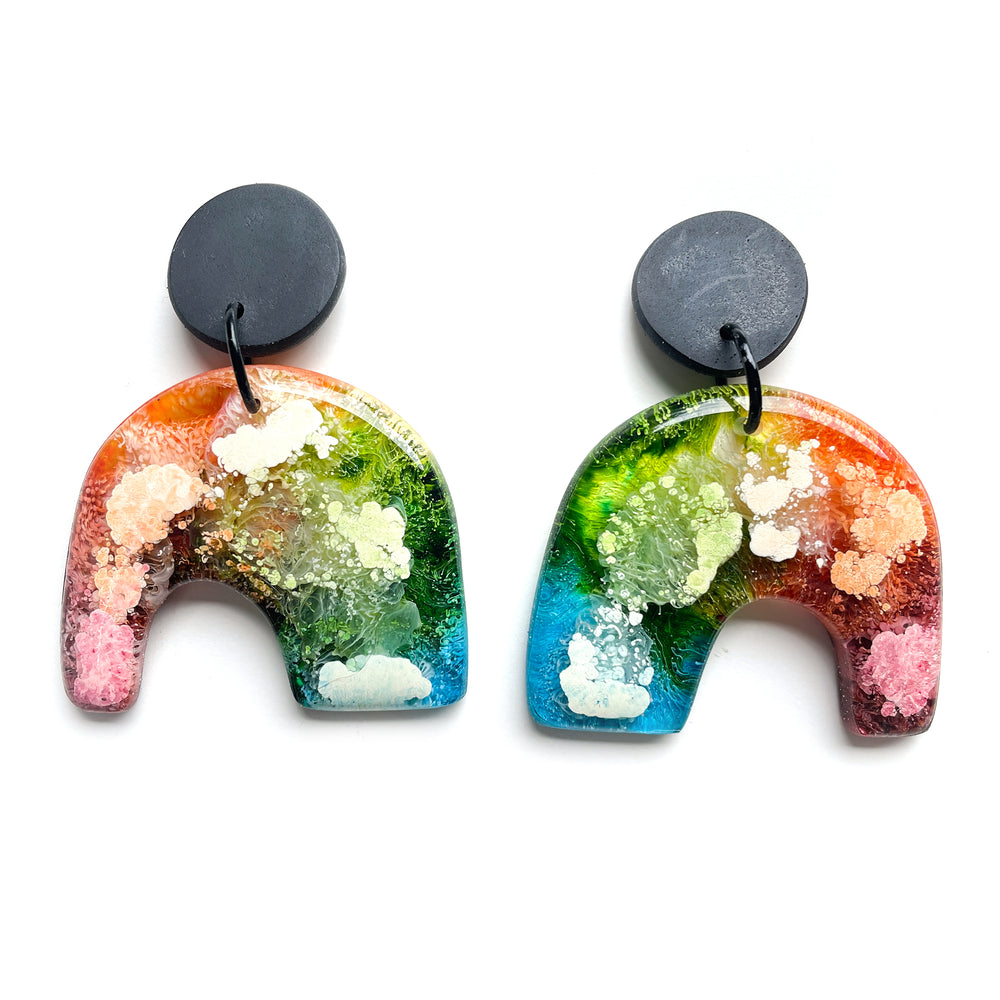 Rainbow Ink GLOSS Mega Handcut Arch Drop Earrings