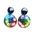 Rainbow Ink GLOSS Large Organic Circle Earrings