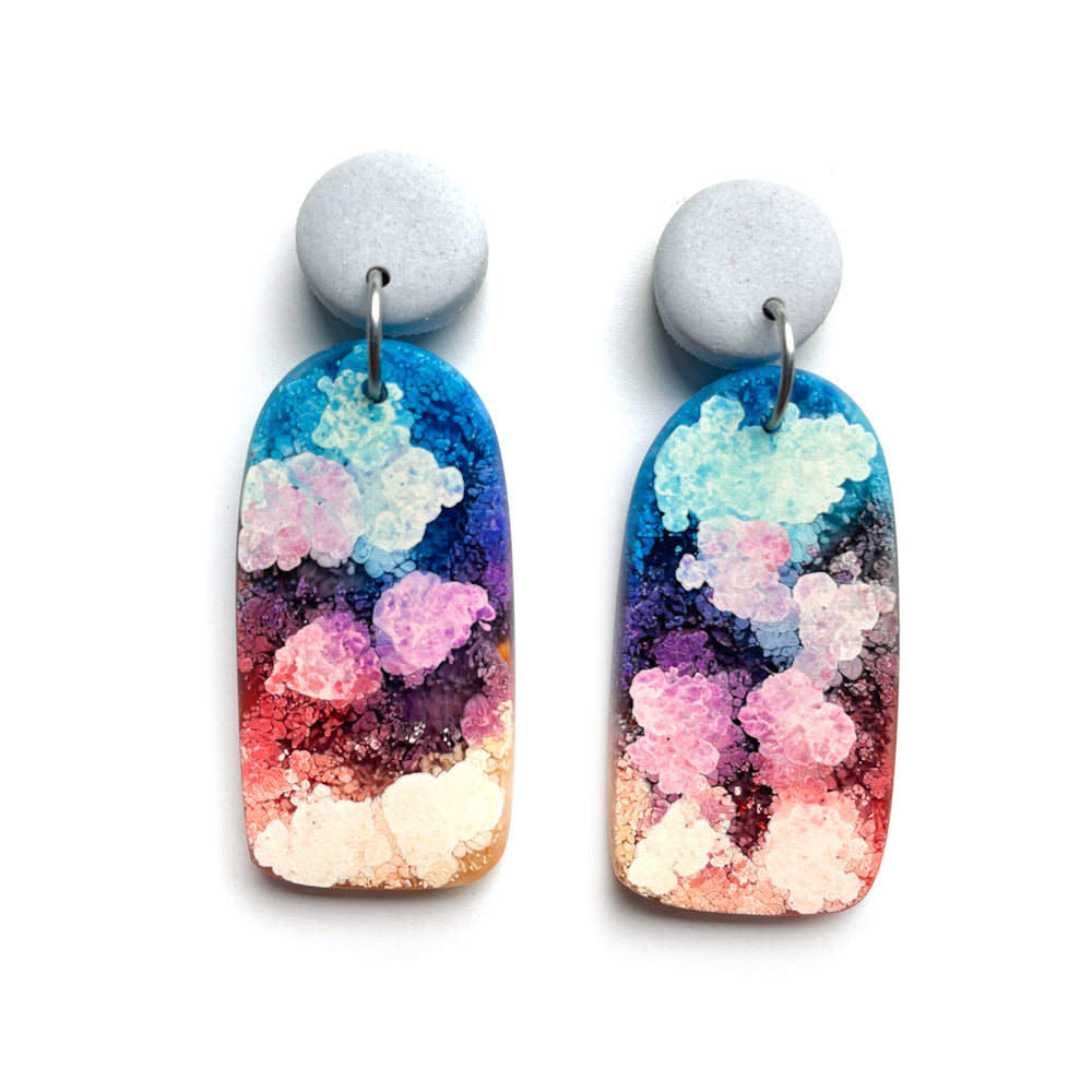 Rainbow Ink MATTE Organic Arch Earrings
