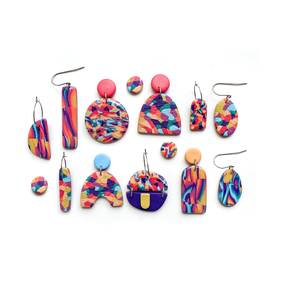Retro Rainbow Multi Piece Hoop Earrings