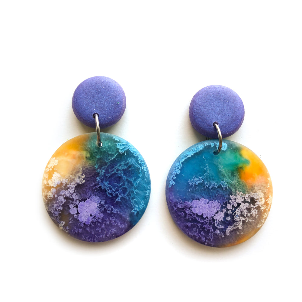 Violet Efflorescence Large Circle Drop Earrings