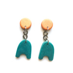 Olive Teal Shapes Multi Drop Earrings