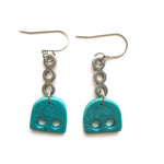 Olive Teal Shapes Multi Drop Hook Earrings