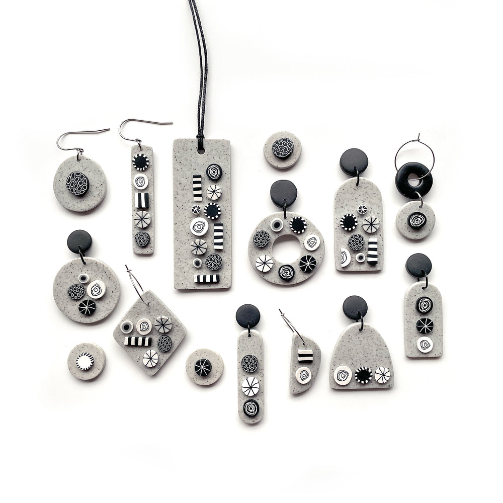 Load image into Gallery viewer, Monochrome Granite Circle Hook Earrings