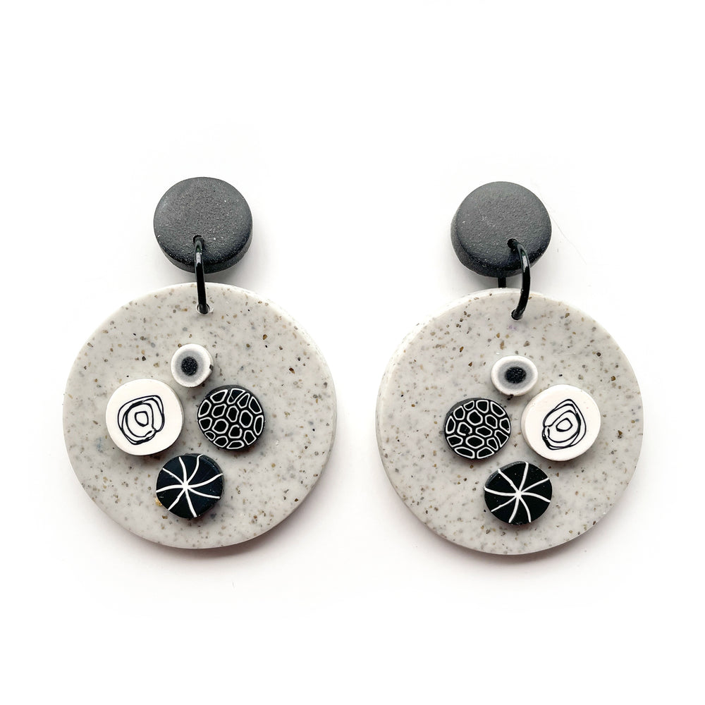 Load image into Gallery viewer, Monochrome Granite Large Circle Earrings