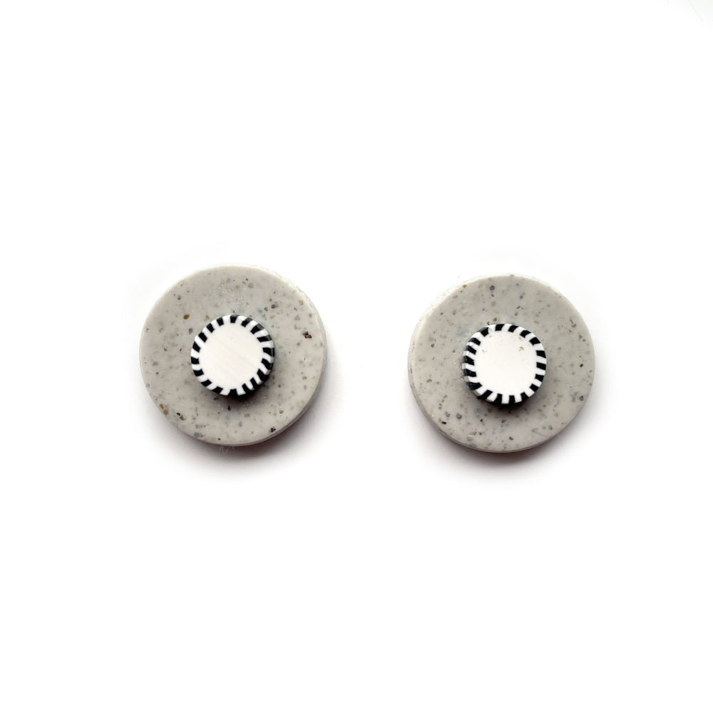Load image into Gallery viewer, Monochrome Granite Mega Circle Stud Earrings