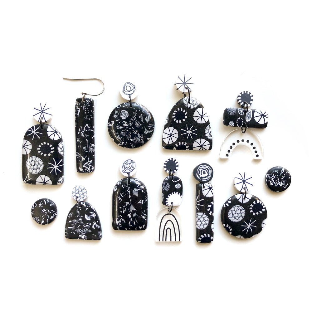 Monochrome Mix Midi Circle Stud Earrings