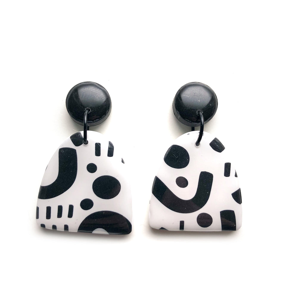 Signature Monochrome Half Oval Drop Earrings RESIN