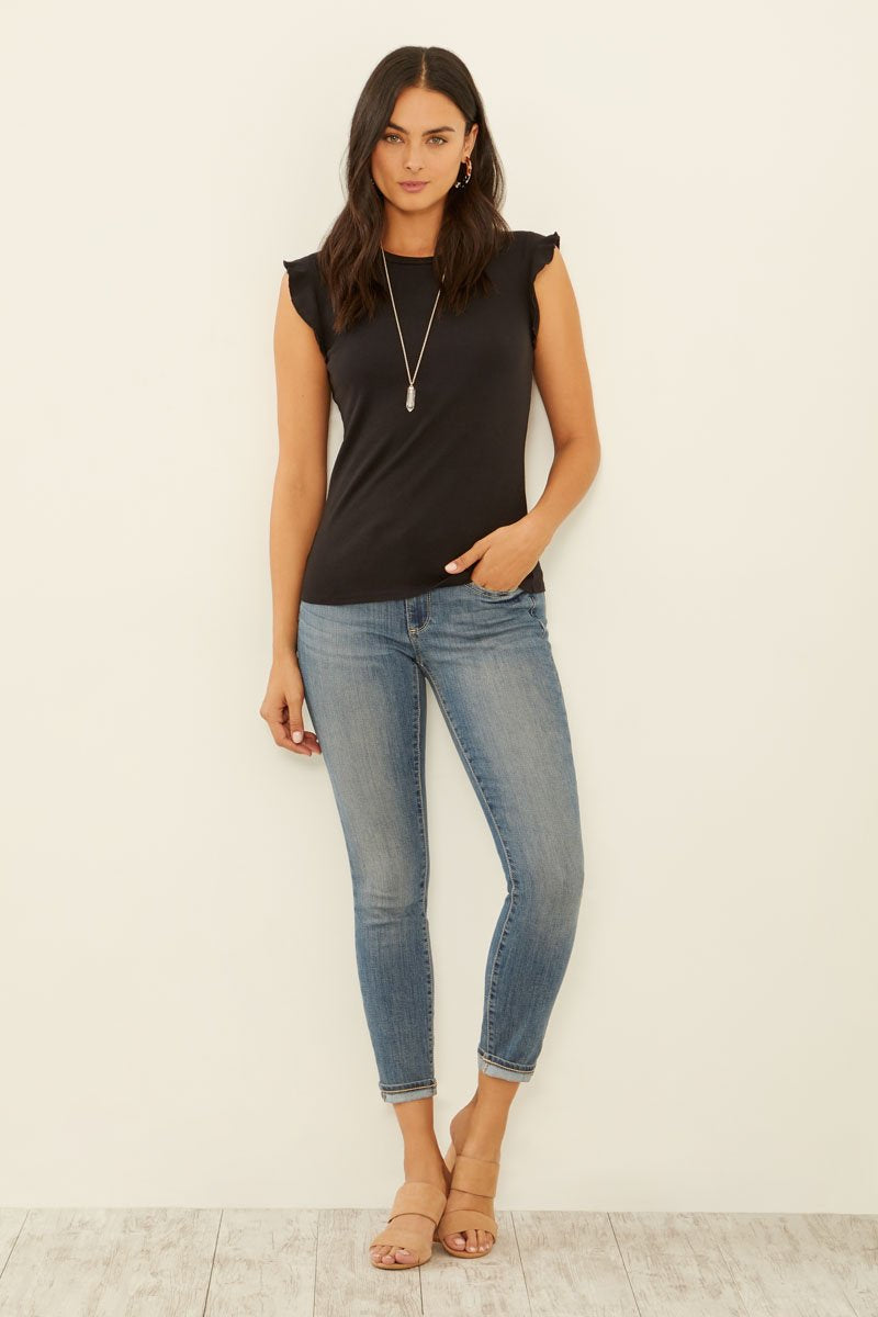 Knit Ruffle Sleeveless Tee
