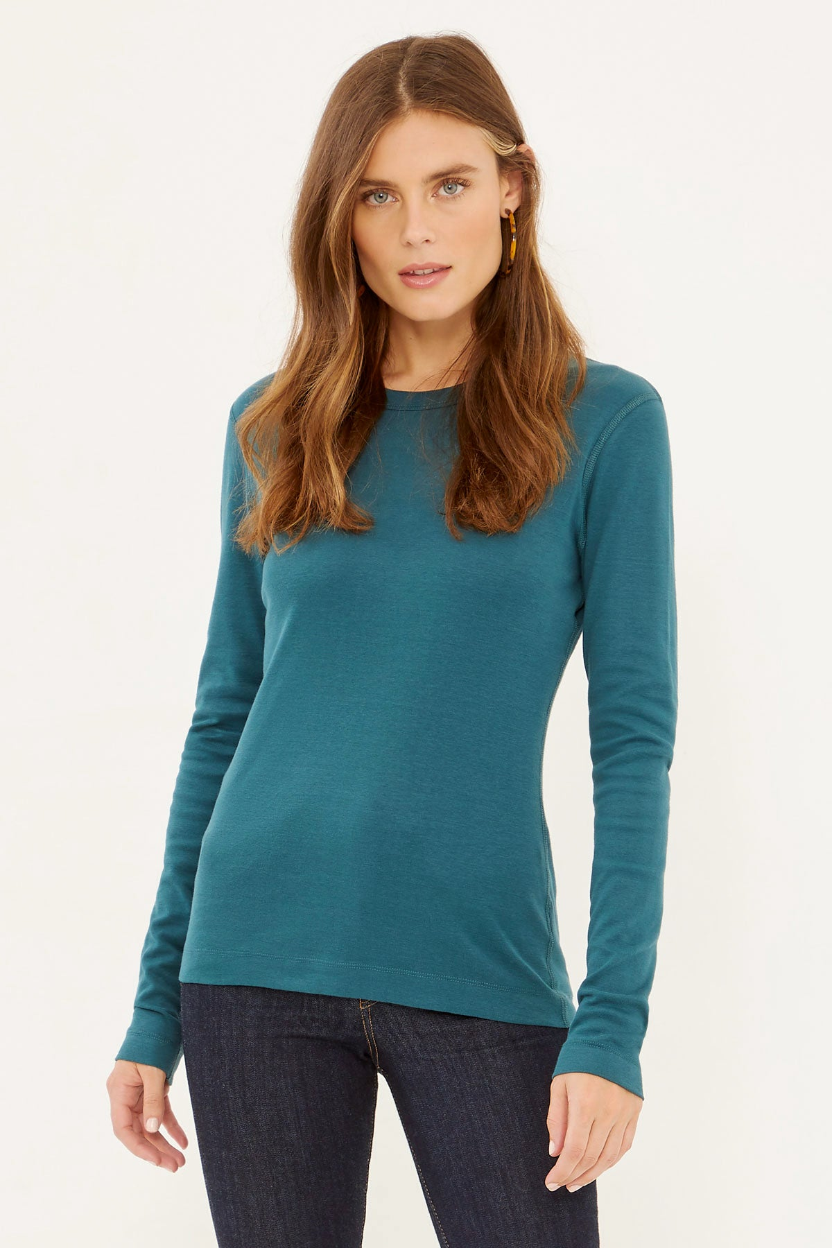 Essential Heritage Knit Crew-Neck Long Sleeve Tee