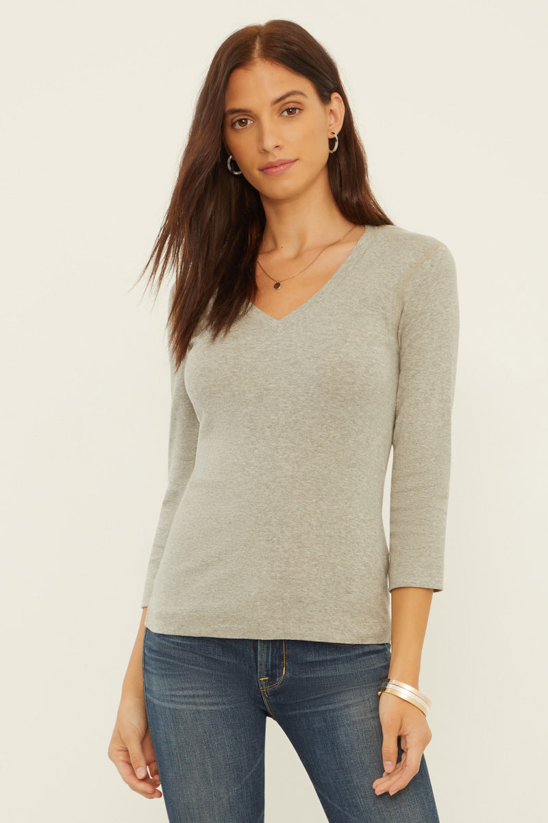 Essential Heritage Knit 3/4 V-Neck Tee