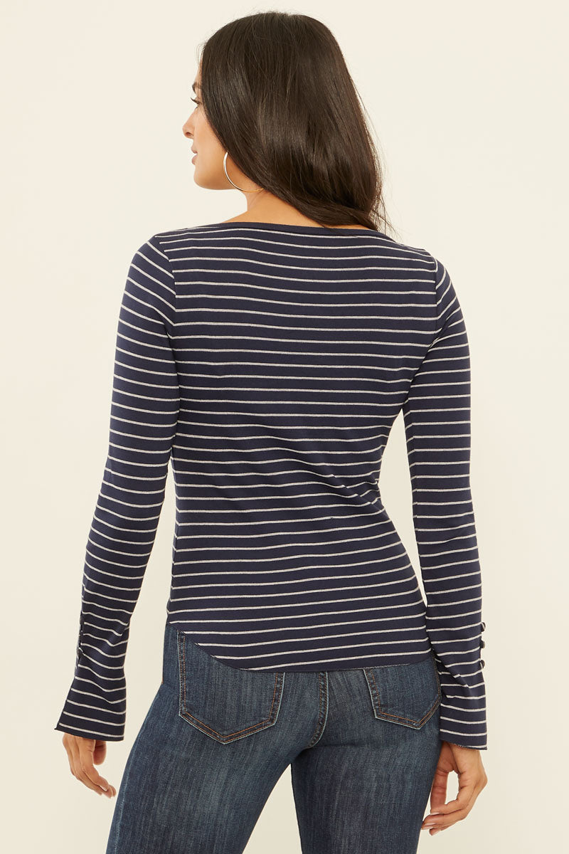 Autumn Stripe Long Sleeve Flared Cuff