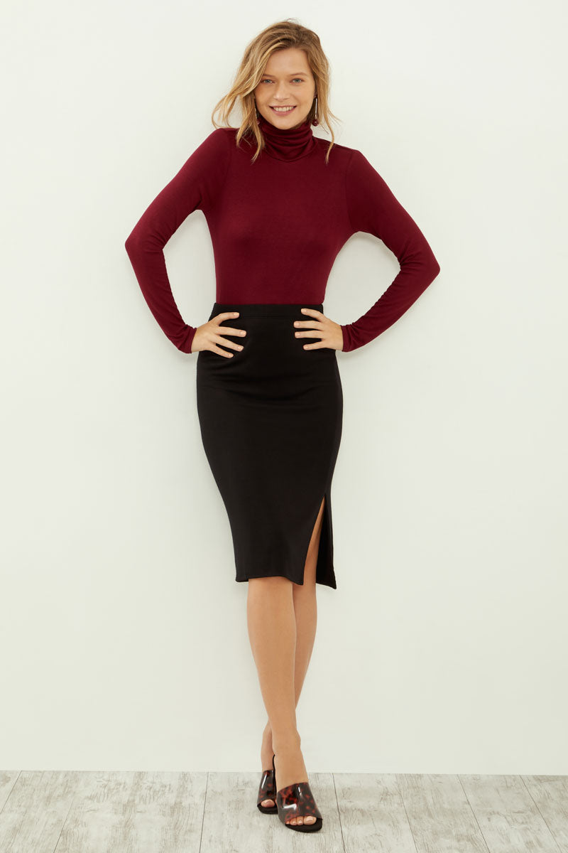 Long Sleeve Turtleneck With Cowl Back