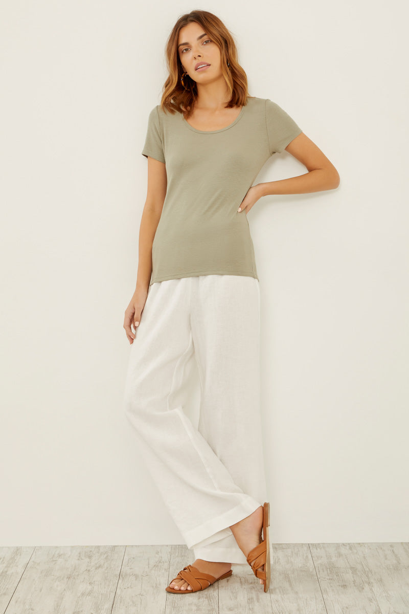 Viscose Rib Short Sleeve Scoopneck Tee