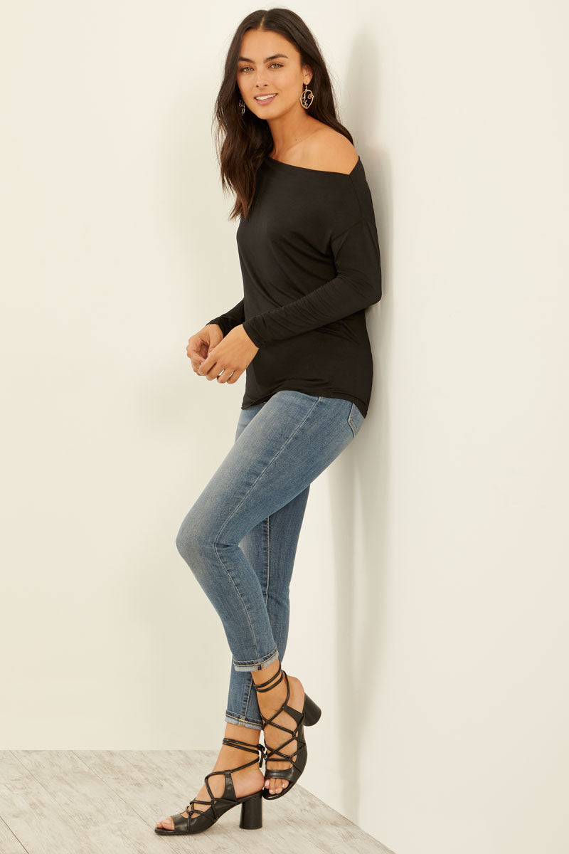Refined Jersey One Shoulder Top