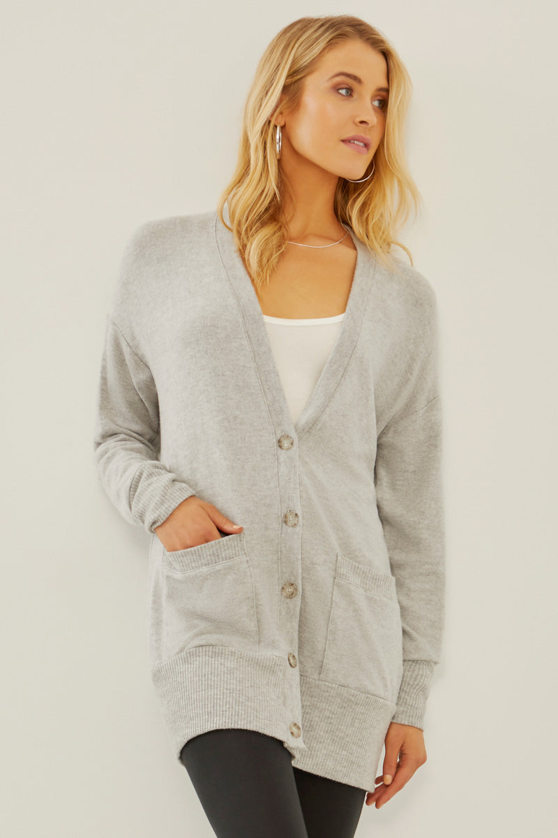 Three Dots Womens Qq7423 Brushed Sweater Cardigan