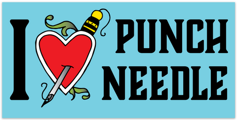 I Love Punch Needle Sticker