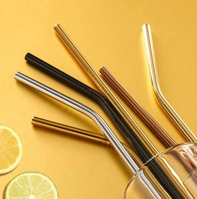Eco Friendly 'curved' Straws with Free cleaning Brush