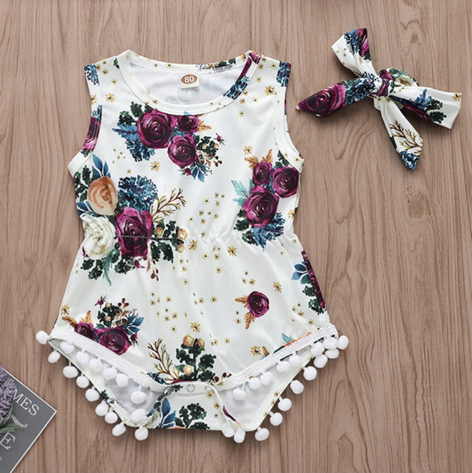 'Saskia' floral Bodysuit with Free headband