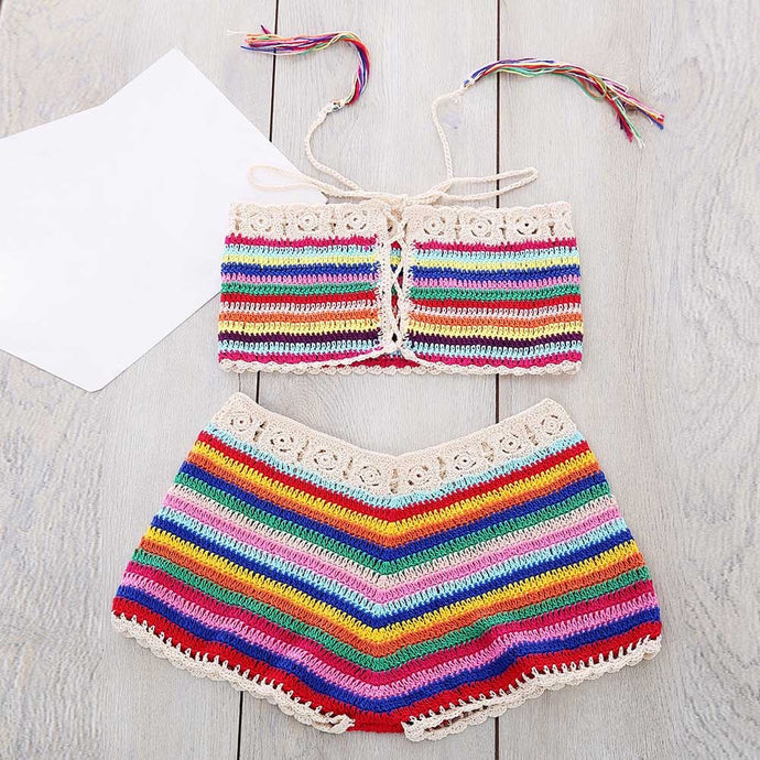 'Haven' crochet crop top and shorts set