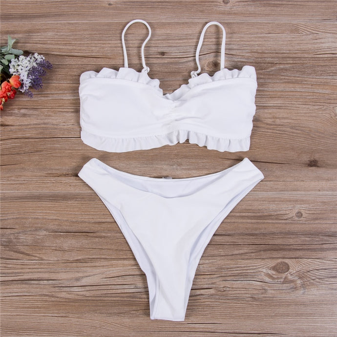 'Mika' two piece white bikini set