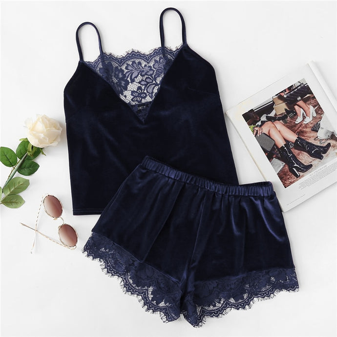 'Sleeping bliss' velvet two piece sleepwear set