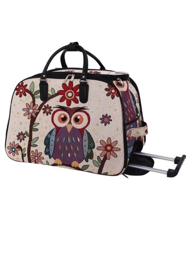 Embroidered Owl Carry-On