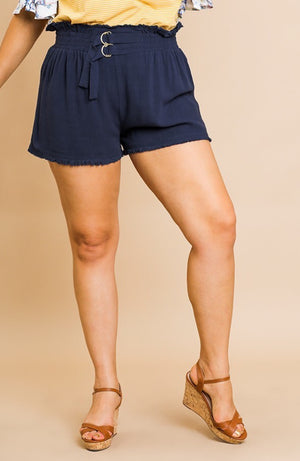 Plus-Size Navy Linen High Waist Shorts