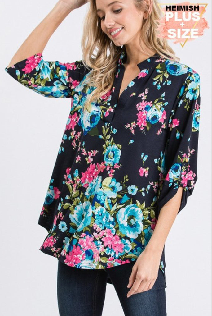 Plus Size Large Floral 3/4 Sleeve Top