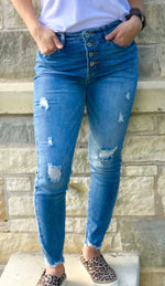 High Rise Distressed Skinnies Jeans