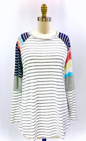 Long Sleeve Stripe Knit Top