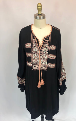 Embroidered Dress With Tassel Neck Tie