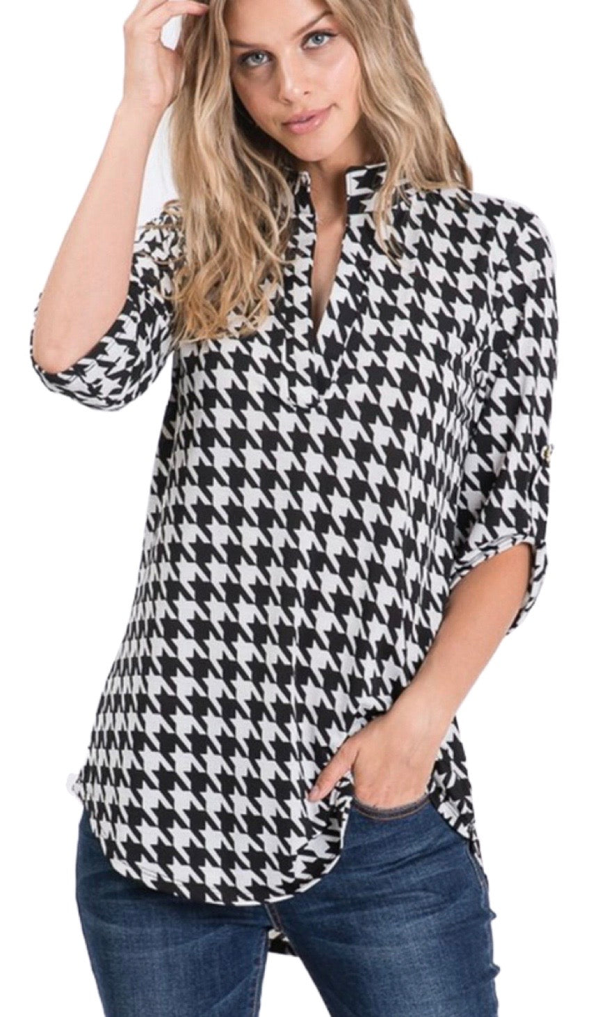 Plus Size Houndstooth 3/4 Sleeve Top