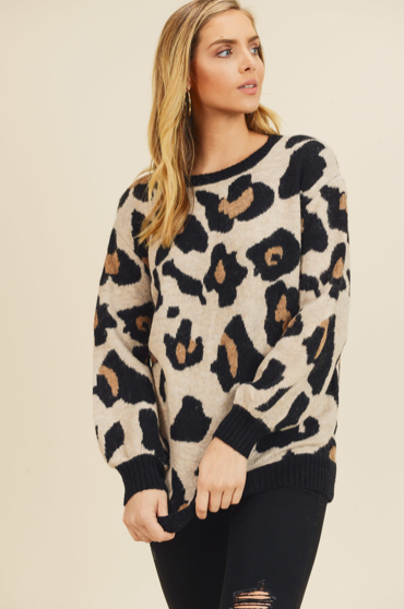 Large Scale Leopard Print Sweater