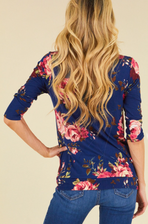 Navy Blue Floral Knot Top