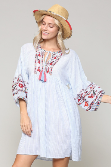 Lightweight Striped and Embroidered Dress