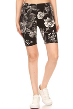 High Waisted Floral Printed Biker Shorts