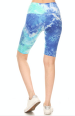 High Waisted Tie Dye Yoga Biker Shorts