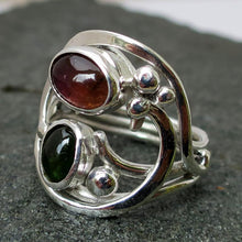 Load image into Gallery viewer, Handcrafted Green and Pink Tourmaline Gemstones in Sterling Silver Custom Ring