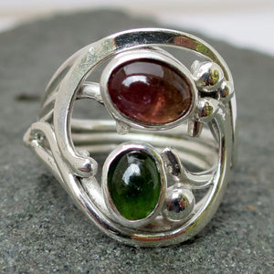 Handcrafted Green and Pink Tourmaline Gemstones in Sterling Silver Custom Ring