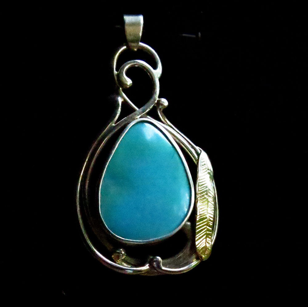 Sleeping Beauty Turquoise Silver and Gold Pendant