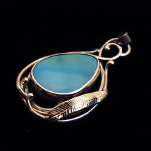 Load image into Gallery viewer, Sleeping Beauty Turquoise Silver and Gold Pendant