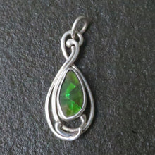 Load image into Gallery viewer, Green Flash Ammolite Fossil Shell Alberta Gemstone Medium Custom Hand Cut Free Form Stone Small Sterling Silver Art Nouveau Pendant Design