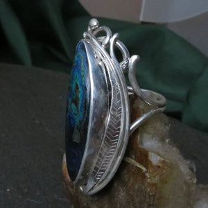 Beautiful Azurite Malachite Sterling Silver Custom Made Ring Large Blue Green Copper Mineral Engraved Leaves Art Nouveau Design