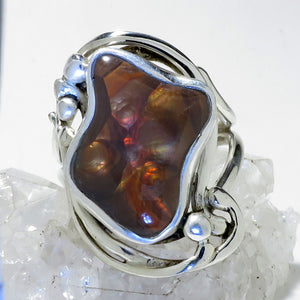 Fire Agate Gemstone Silver Ring