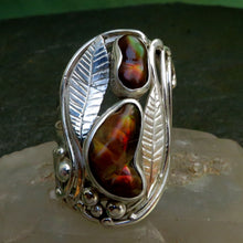Load image into Gallery viewer, Fire Agate Two Gemstone Ring Hand Crafted Hand Cut Red Green Orange Flash Sterling Silver Art Nouveau Large Sized Free Form Engraved Leaves