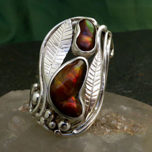 Fire Agate Two Gemstone Ring Hand Crafted Hand Cut Red Green Orange Flash Sterling Silver Art Nouveau Large Sized Free Form Engraved Leaves