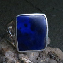 Load image into Gallery viewer, Lapis Lazuli AAA Grade Blue Gemstone Ring Sterling Silver Art Nouveau Medium Size rectangle Custom Handcrafted Art Nouveau Design