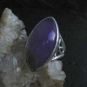 Lavender Agate Gemstone Sterling Silver Statement Ring