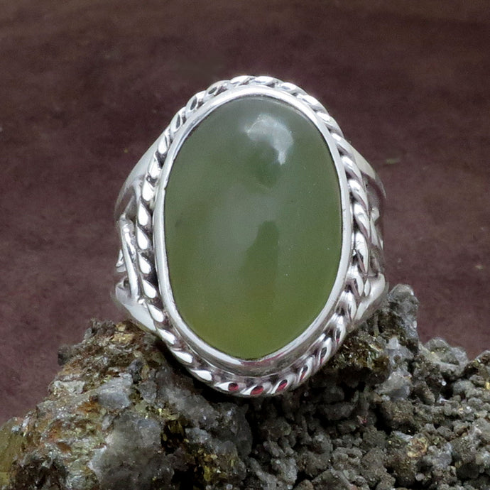Green Prehnite Gemstone Sterling Silver Ring